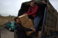 Distributing school kits near Sidon, Lebanon