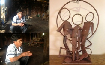 Mr. Bousey and metal sculpture (by artist Ken Loewen)