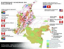 Map of some Foreign Mining Companies and their Operations in Colombiamining companies in Colombia
