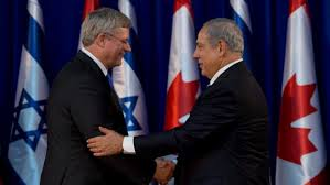 Prime Minister Stephen Harper shakes hands with Prime Minister Benjamin Netanyahu of Israel.