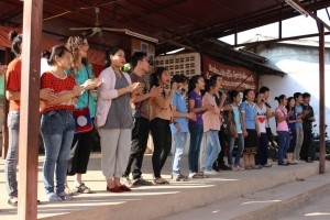 "Peacebuilding among young people spreads conflict transformation skills throughout society. Mittapab (""Friendship""€) is a group of Lao young adults and teachers. They build peace in Vientiane by working with high school students, using their own curriculum. Students learn to promote relationship peace and cope with daily conflicts. Global Family support helps Mittapab teach conflict transformation to teachers and students. This photo shows a peace training among high school students."