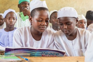 Dauda Babangida, left, and Abubakar Idris are Peace Club participants at Muhammadu Abdullahi Wase Private School in Wase town, Nigeria.