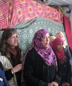 Amna Abu Halima and her daughters, along with MCC Palestine worker Jessy Hampton. (Photo credit Anna Johnson)
