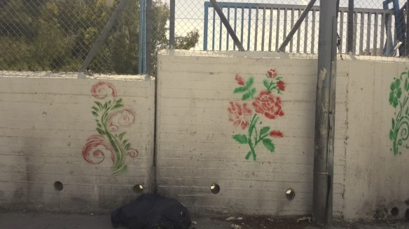 flowers painted on wall