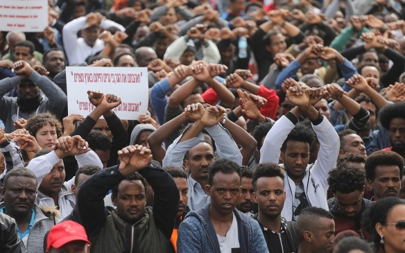 African asylum seekers protest