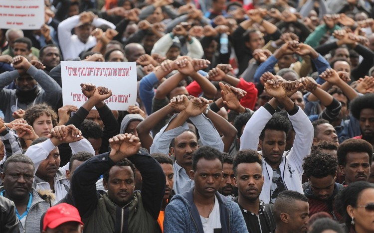 African asylum seekers protest